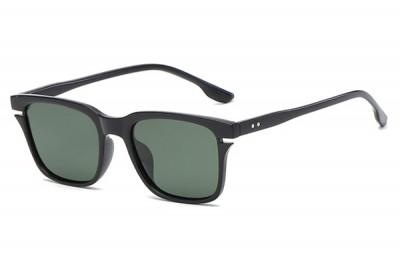 Men's Black Square Sunglasses With Green Lens