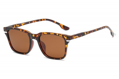 Men's Brown Square Tortoiseshell Sunglasses With Brown Lens
