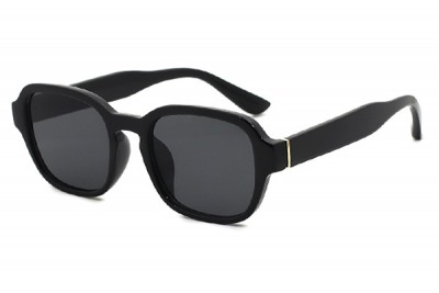 Black Preppy Rounded Oval Sunglasses