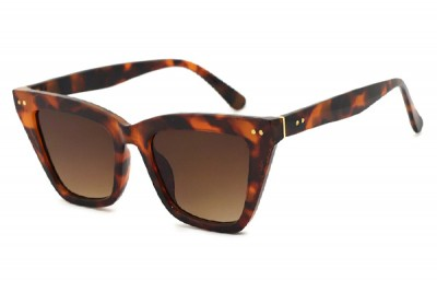 Women's Brown Havana Tort Pointed Cat Eye Sunglasses