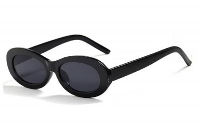 Women's Black Retro Chunky Slim Oval Sunglasses