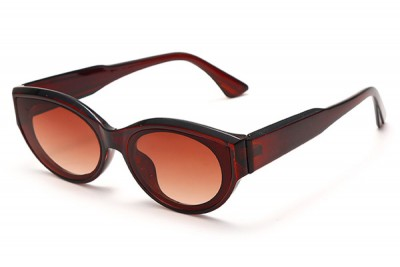 Women's Brown Acetate Oval Sunglasses With Gradient Lens