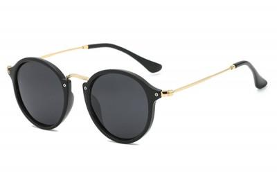 Black Round Retro Sunglasses With Slim Legs & Gold Metal Detail