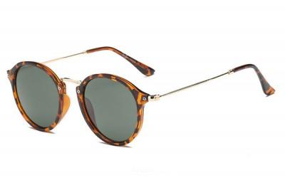Orange Brown Tortoiseshell Round Retro Sunglasses With Slim Legs & Gold Metal Detail