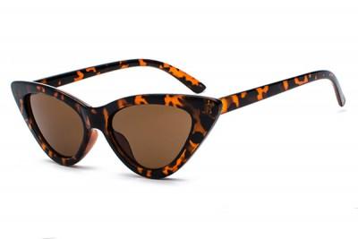 Women's Slim Pointy Cat Eye Sunglasses in Tortoiseshell Brown