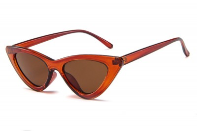 Women's Slim Pointy Cat Eye Sunglasses in Burnt Orange