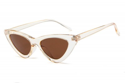 Women's Slim Pointy Cat Eye Sunglasses in Transparent Clear Acetate & Brown Lens