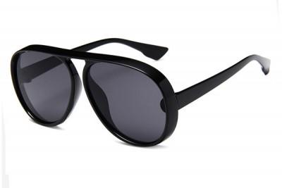 Black Oversized Chunky Retro Pilot Aviator Sunglasses