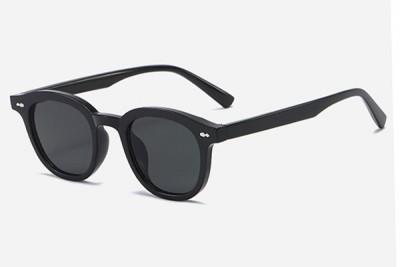 Rounded Retro Acetate Sunglasses In Black