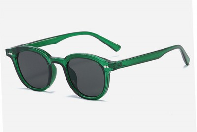 Green Rounded Retro Transparent Clear Acetate Sunglasses
