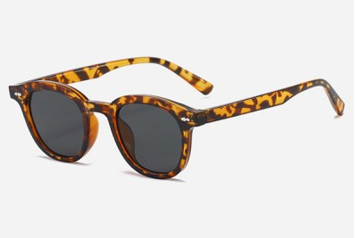 Light Tortoise Brown Rounded Retro Transparent Clear Acetate Sunglasses