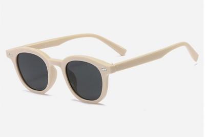 White Rounded Retro Acetate Sunglasses