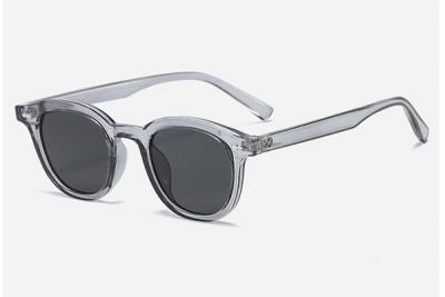 Smoke Grey Rounded Retro Transparent Clear Acetate Sunglasses