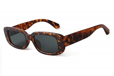 Women's Slim Rectangular Oval Retro Sunglasses in Tortoise Brown