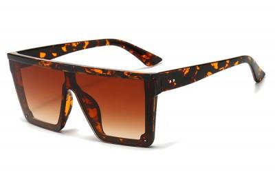 Tortoiseshell Brown Oversize Square Visor Sunglasses