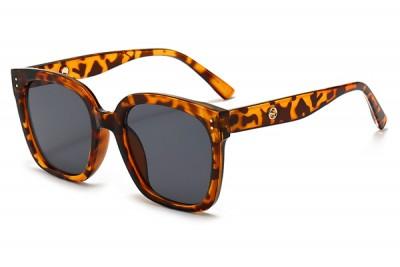 Women's Leopard Tort Brown Transparent Clear Acetate Oversize Square Sunglasses